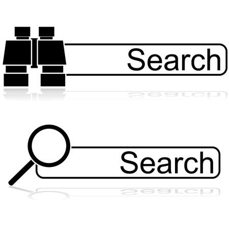 Icon illustration showing a couple of options for search bars, one with a pair of binoculars and one with a magnifying glass