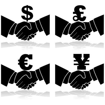 yen sign: Icon illustration showing a handshake with a currency symbol on top of it