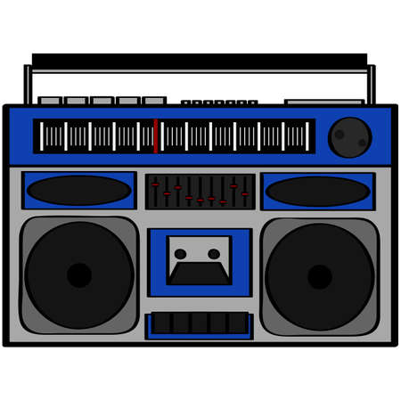 Cartoon illustration showing an eighties style boom box