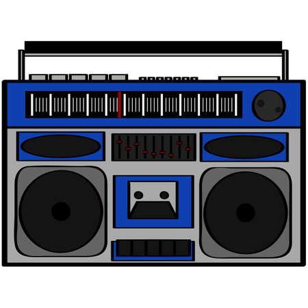 tape recorder: Ilustración de dibujos animados que muestra un equipo de sonido de estilo años ochenta Vectores