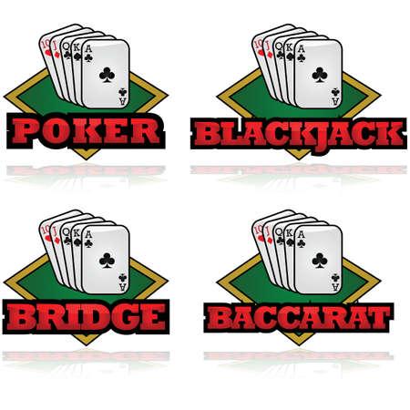 jeu de carte: Concept illustration montrant quelques cartes et le nom des jeux de cartes populaires devant