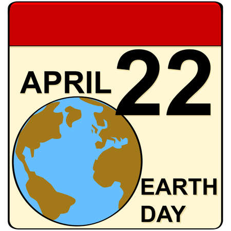 Cartoon illustration showing a calendar set to April 22, when Earth Day is celebrated
