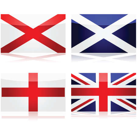 Set showing the flags used as a basis for the Union Jack: St George for England, St Andrew for Scotland and St Patrick for Ireland Vector