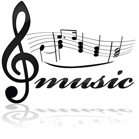 underneath: Icon showing a stylized musical note line with the word music underneath