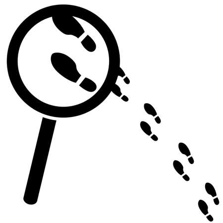 Concept illustration showing a magnifying glass over a few footprints Vector