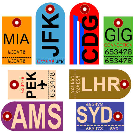 Old style illustration showing retro looking airplane tags with different airport codes