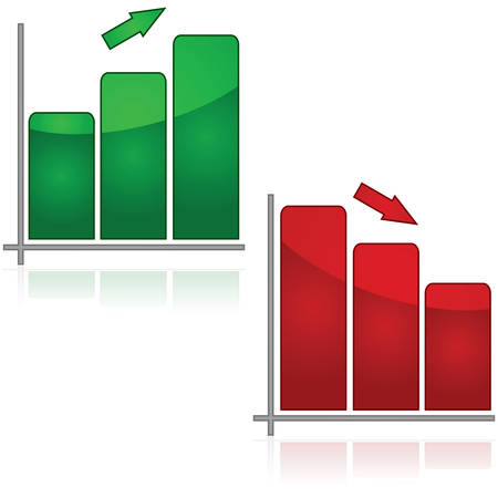 deterioration: Glossy illustration showing a green graph trending up and a red one trending down Illustration
