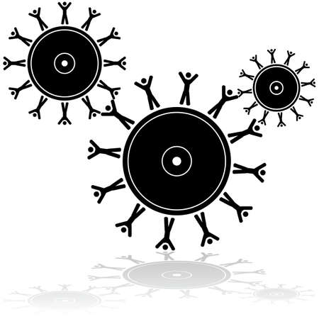 capitalism: Concept illustration showing gear wheels partially made of people