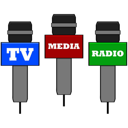 tv reporter: Cartoon illustration showing microphones used by different media channels Illustration