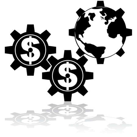 Concept illustration showing gear wheels with a dollar sign moving the world