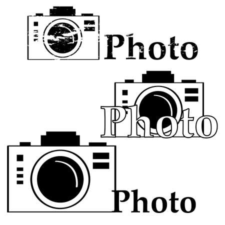 Icon set showing a camera in different arrangements with the word photo