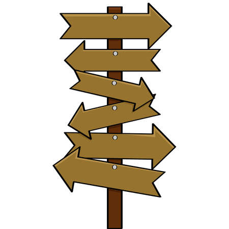Cartoon illustration showing a post with multiple arrow signs pointing in different directions Vector