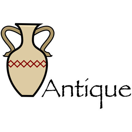 Cartoon illustration showing an antique vase