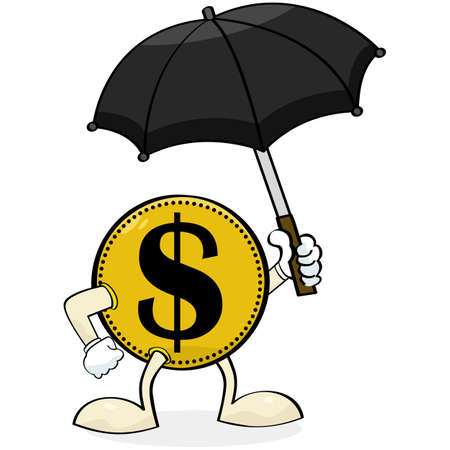money rain: Concept illustration showing a coin holding an umbrella to protect itself