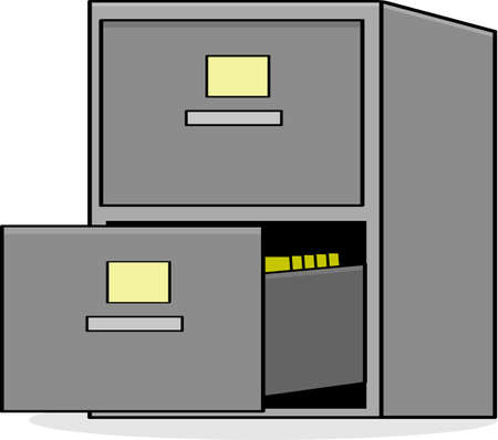Cartoon illustration showing a metal file cabinet with the bottom drawer open