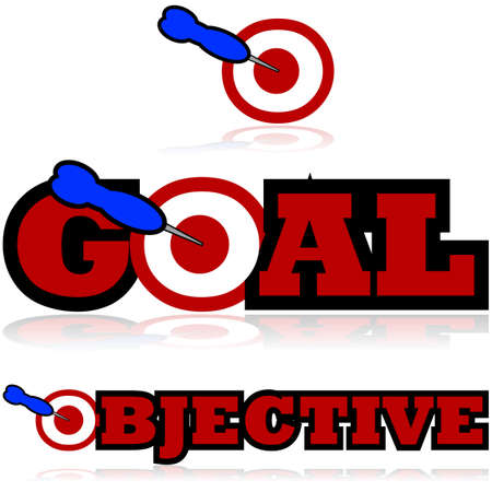 Icon illustration showing a dart hitting a target and being part of the words GOAL and OBJECTIVE