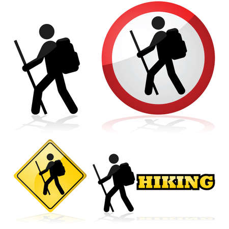 Icon set showing a man hiking carrying a backpack and a stick 일러스트