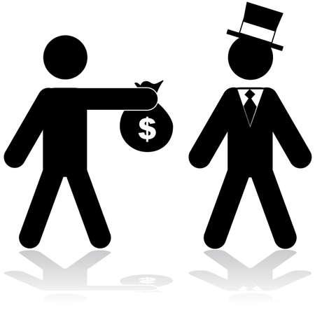 Concept illustratie toont een man die een zak met geld aan een rijke persoon