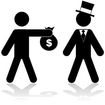 Concept illustration showing a man giving a bag of money to a rich person