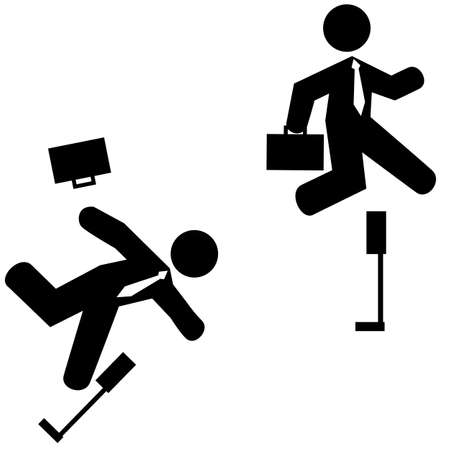 stumble: Concept illustration showing a businessman jumping over a hurdle and another one stumbling