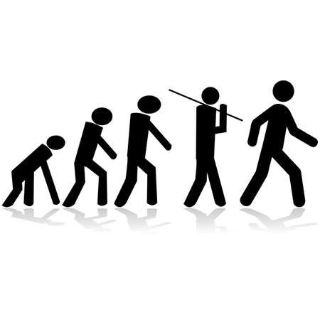 human evolution: Concept illustration showing stick figures evolving from a monkey to a man