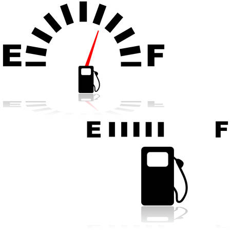 Icon illustration showing two types of fuel gauges, one digital and one analog