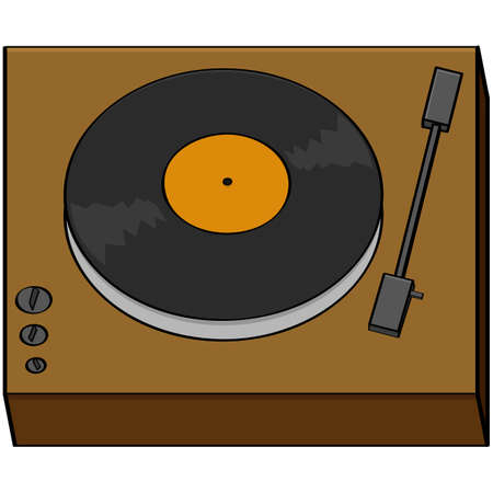 Cartoon illustration of an old turntable with a music record on it