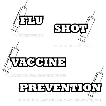 flu shot: Icon illustration showing a syringe beside words such as flu, shot and vaccine