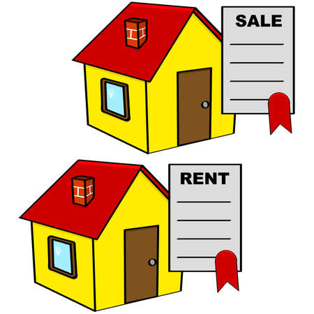 Cartoon illustration showing a sale and a rental agreement on top of a house