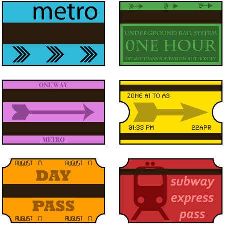 Cartoon illustration showing vintage retro style subway tickets Çizim
