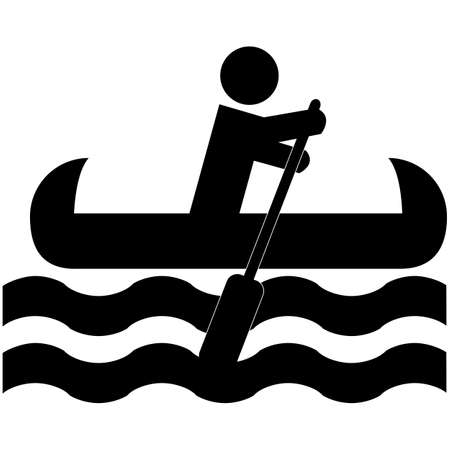 canoe: Icon illustration showing a man rowing a canoe