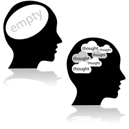 lots: Concept illustration showing a head with an empty mind and another with lots of thoughts Illustration
