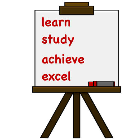 Cartoon illustration showing steps for proper learning written on a piece of paper held by an easel Illustration