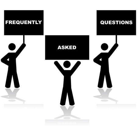 よく寄せられる質問文を構成する標識を保持している 3 人を示す概念図  イラスト・ベクター素材