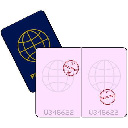 Cartoon illustratie toont een paspoort met stempels voor de toegang ontzegd en geaccepteerd