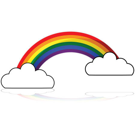Glossy illustration showing a rainbow appearing behind two clouds