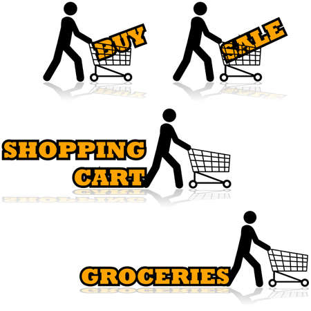 Icon set showing a man pushing a shopping cart with different words and expressions beside them