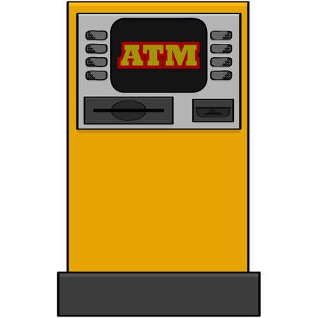 은행 자동 기계를 보여주는 만화 그림 일러스트