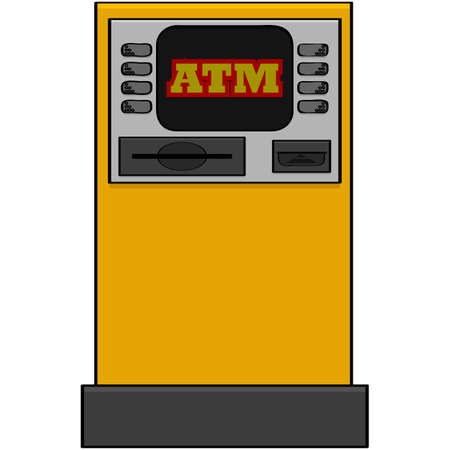 savings account: Cartoon illustration showing an automatic bank machine