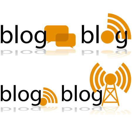Icon set met het woord blog op verschillende manieren gecombineerd met kleinere symbolen voor transmissie of conversatie