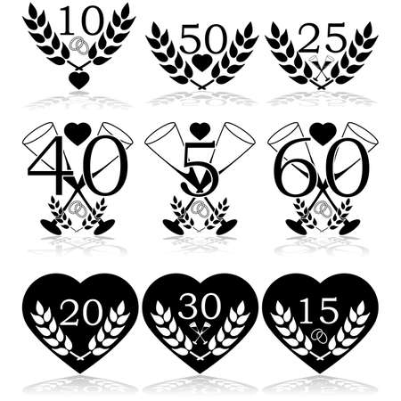 Icon set showing different wedding anniversary celebration icons for various years Vectores