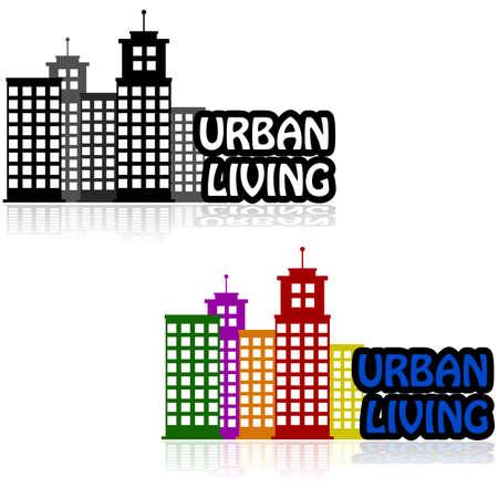 Pictogram dat gebouwen die een stad centrum naast de woorden 'Urban Living'