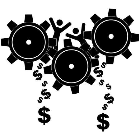 Concept illustration showing people being ground by gears and transformed into money Ilustração