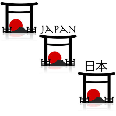 shogun: Icon set showing an outline of a Japanese temple with a mountain and a red sun in the background Illustration