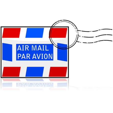 Glanzende pictogram met een brief met een stempel en het bericht 'Air Mail' op het