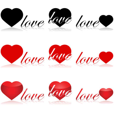 Icon set showing different arrangements and styles for the word love and a heart