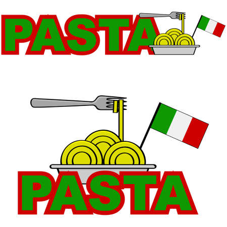 Cartoon illustration showing a plate of pasta combined with the word 'pasta' and a flag of Italy