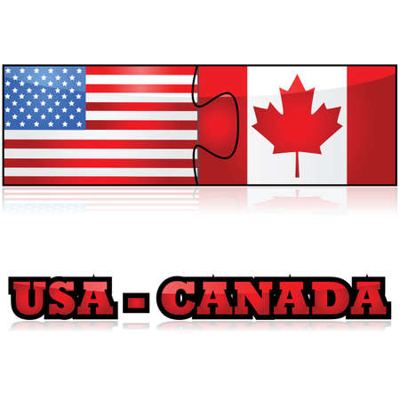 Concept illustration showing the flags of the United States and Canada joined together as puzzle pieces