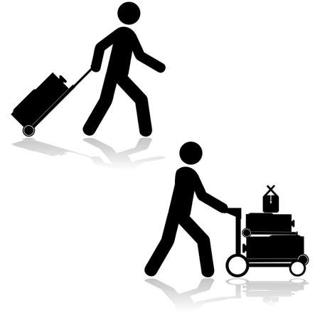 piece of luggage: Icon set showing a man pulling a piece of luggage or carrying multiple items with a cart