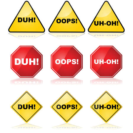 duh: Concept illustration showing traffic signs with different messages for mistakes made Illustration